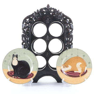 """Warren Kimble """"Cat Collection"""" Ceramic Plates with Carved Wood Wine Bottle Rack"""
