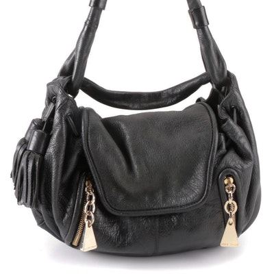 See by Chloé Shoulder Bag in Black Pebbled Leather with Fringe Tassels
