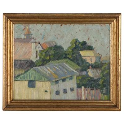 Oil Painting of Neighborhood, Mid-Late 20th Century