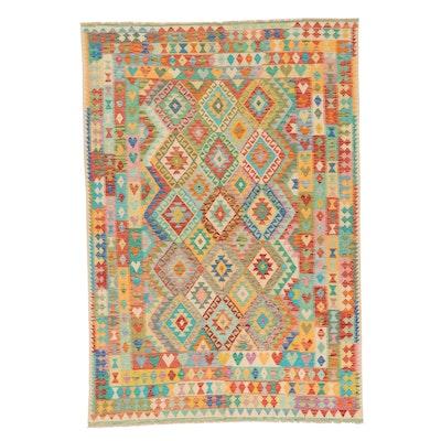 6'7 x 9'8 Handwoven Turkish Caucasian Kilim Area Rug