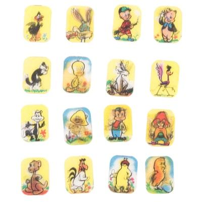 """Vari-Vue """"Looney Tunes"""" Cartoon Lenticular Flicker Ring Inserts, 1960s"""