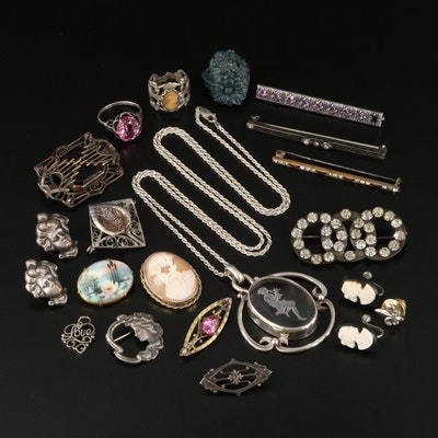 Antique Grouping Including Sterling Crystal Intaglio Pan and Cameo Goddess Hebe