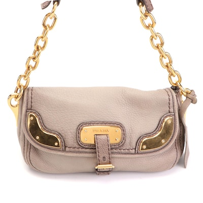 Prada Flap-Front Shoulder Bag in Deerskin Leather with Chain Strap