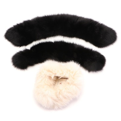 Dyed Fox Fur Collars and White Faux Fur Headband
