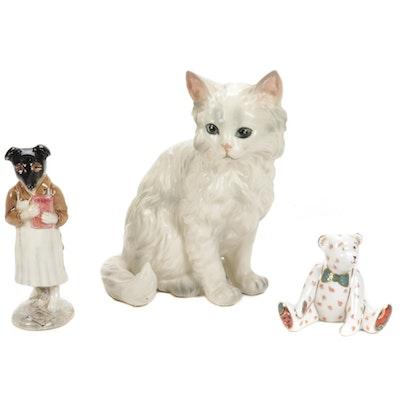 "Royal Crown Derby Bear, F. Warne & Co. ""Pickles"" and Lefton Cat Figurine"