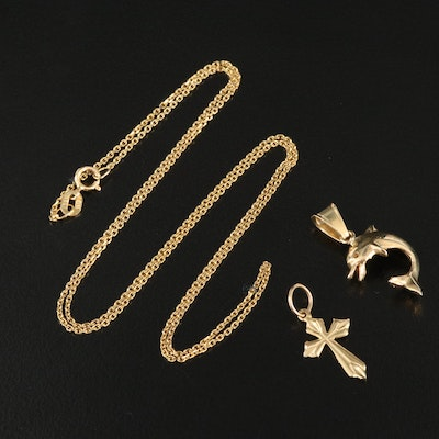 14K Dolphin and Cross Pendants with Cable Chain