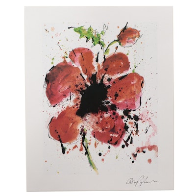 """Giclée After Dominic Panghorn """"Abstract Poppy,"""" 21st Century"""