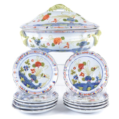 Hand-Painted Italian Faïence Lidded Tureen and Saucers, Mid to Late 20th Century