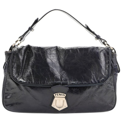 Fendi Two-Way Flap Front Bag in Navy Crinkle Patent Leather