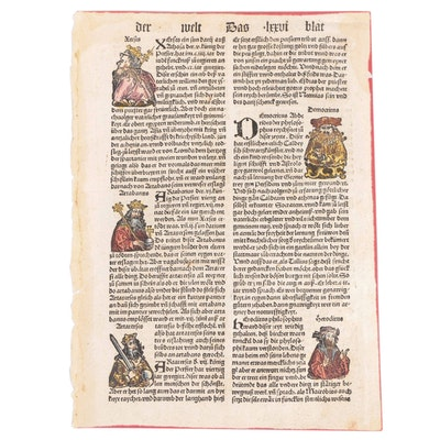 Nuremberg Chronicle Leaf Featuring Sappho and Herodotus, 1496
