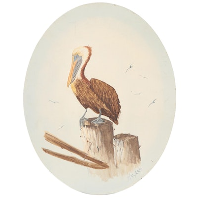 Oil Painting of a Pelican Attributed to Mary Love Ward
