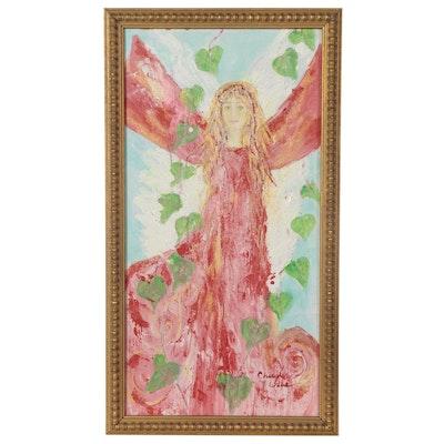 "Cheryl Crane Hunter Mixed Media Painting ""Blessed"""