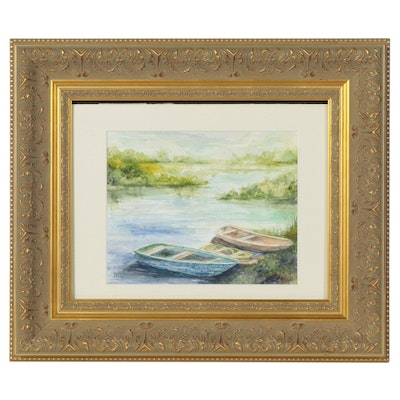 Watercolor Painting of Canoes at Riverside, Late 20th Century