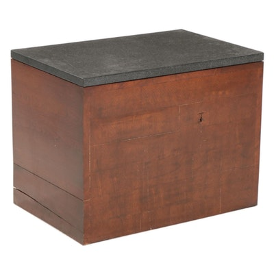 Contemporary Wood Block Side Table with Textured Granite Top