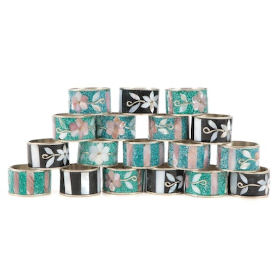 Mexican Stone, MOP and Shell Inlaid Floral Motif Silver Plate Napkin Rings