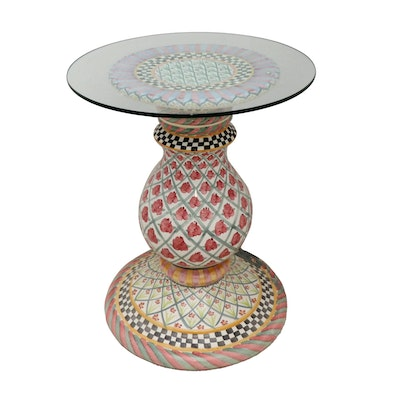MacKenzie-Childs Terracotta Pedestal Side Table with Glass Top