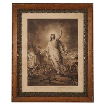 "Friedrich Wilhelm Wehle Lithograph ""Resurrection of Christ,"" Circa 1891"