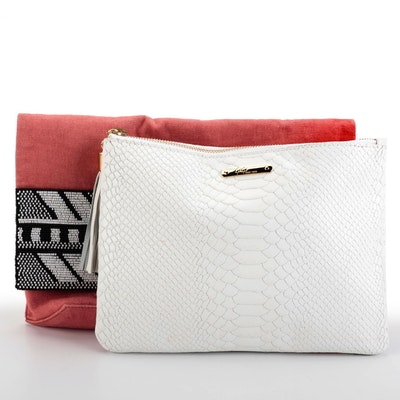 GiGi Embossed Leather Pouch and Roberta Freymann Beaded Flap Front Clutch