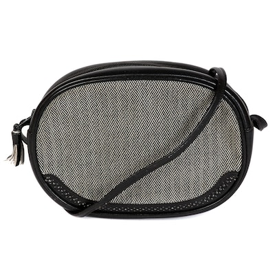 Mark Cross Crossbody in Herringbone Fabric and Smooth/Perforated Black Leather