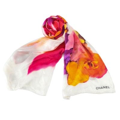 Chanel CC Silk Scarf in Watercolor Camellia Print