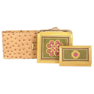 Princess Gardner Embossed Leather Wallet, Leather Pouch, and Six Key Holder