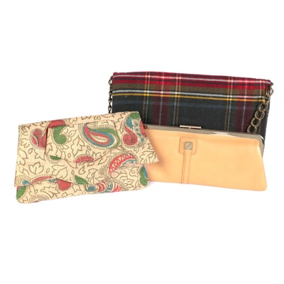 Plaid Convertible Clutch, Print Fabric Clutch and Eileen West Leather Clutch