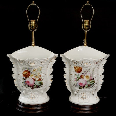 Pair of Old Paris Porcelain Vases on Lamp Stands, Mid-19th Century