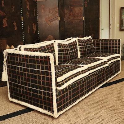 Custom-Upholstered Three-Seat Knole Sofa, Mid-20th Century