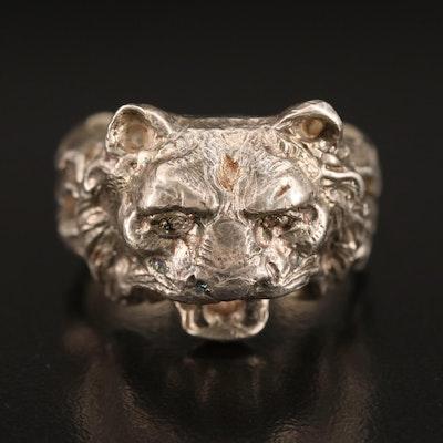 Sterling Cast Tiger Ring