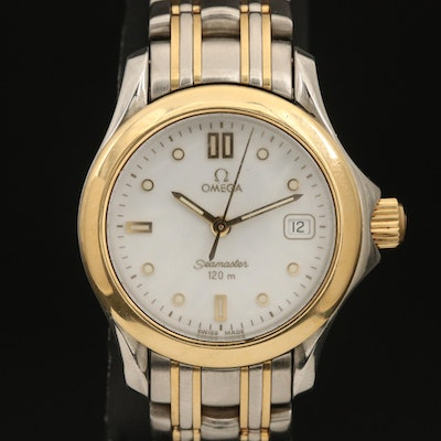 Omega Seamaster 18K and Stainless Steel Quartz Wristwatch