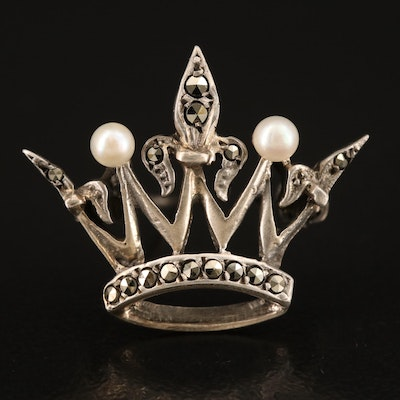 Sterling Pearl and Marcasite Crown Brooch