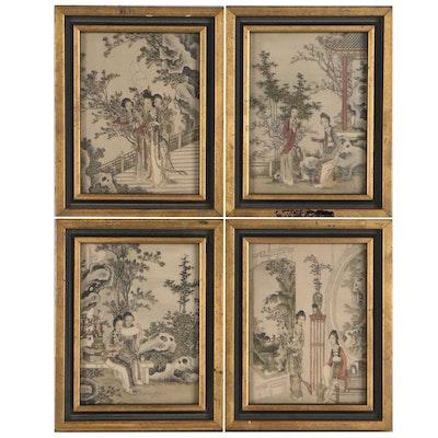 Japanese Rotogravures of Figurative Scene, Late 20th Century