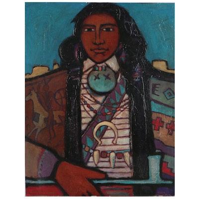 Robin Gary Wood Oil Painting of Native American, Circa 1997