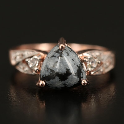 Sterling Snowflake Obsidian and White Topaz Ring