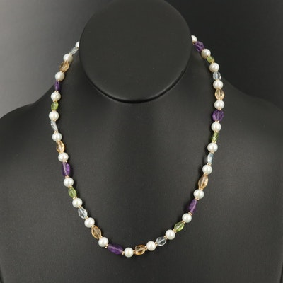14K Amethyst, Citrine, Peridot, Topaz and Pearl Beaded Necklace