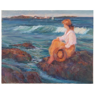 """Diane Leonard Oil Painting """"A Beautiful Summer Day,"""" Late 20th Century"""