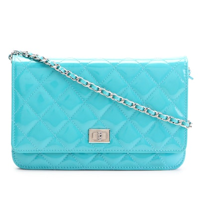 Chanel Reissue 2.55 Wallet On Chain in Blue Patent Leather