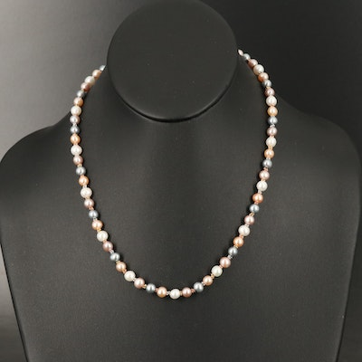 14K Tri-Gold Near-Round - Oval Pearl Necklace Including Rose Gold