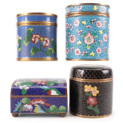 Chinese Cloisonné Trinket Boxes, Mid to Late 20th Century