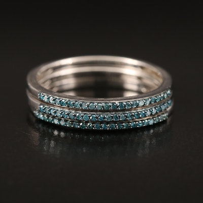 Sterling Diamond Stacking Bands
