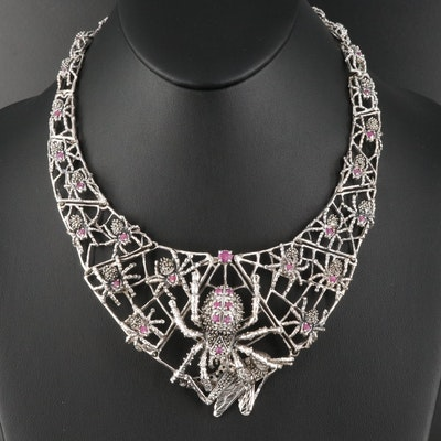 Sterling Ruby and Marcasite Crawling Spiders and Grasshopper Necklace