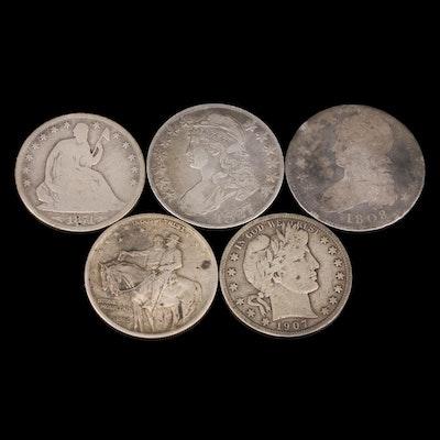 Five Antique to Vintage U.S. Silver Half Dollars