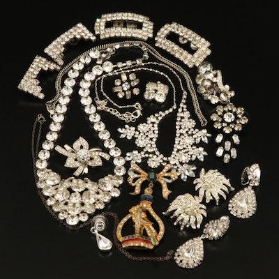 Unsigned Staret, Hattie Carnegie and Eisenberg in Rhinestone Jewelry Collection