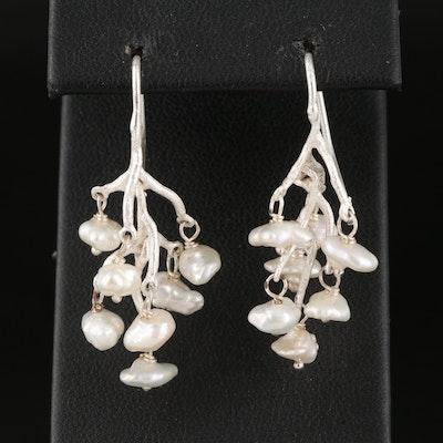 Biomorphic Pearl Drop Earrings
