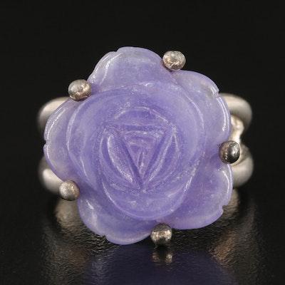 Sterling Silver Carved Amethyst Rose Ring