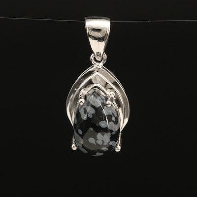 Sterling Snowflake Obsidian Drop Pendant