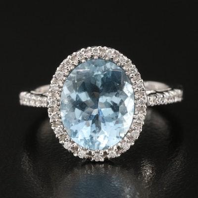 18K 3.27 CT Aquamarine and Diamond Halo Ring