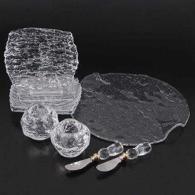 Clear Textured Glass Serveware, Dinnerware, Votive Candle Holders, and More
