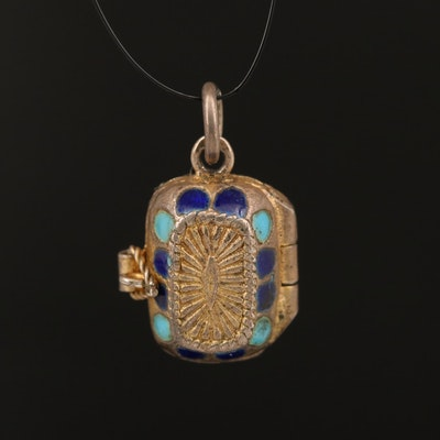 800 Silver and Enamel Moses in a Basket Pendant