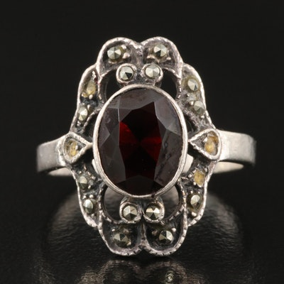 Sterling Bezel Set Garnet Ring with Marcasite Accents